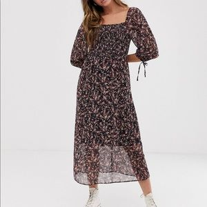 New Look Square Neck Floral Midi Dress Size